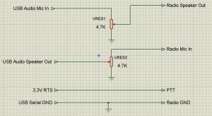 Simple audio leveler and push-to-talk circuit
